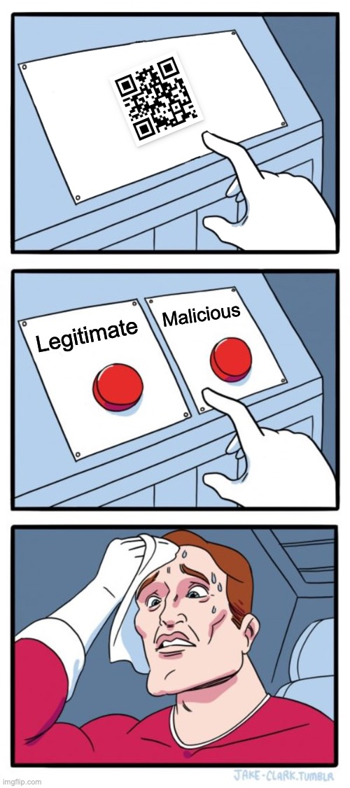 The 'two buttons' meme, asking if a QR code is legitimate or malicious