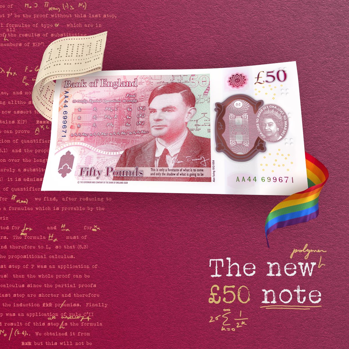 A rendering of the back of the new £50 note featuring Alan Turing